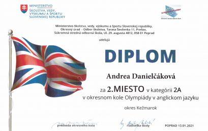 Úspech v okresnom kole olympiády z anglického jazyka